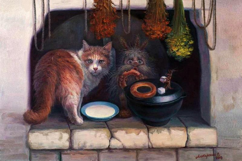 Картинки домовой и кот