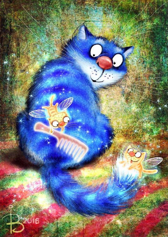 тебя картинки синий кот осенние смешные красят ремонтируют все
